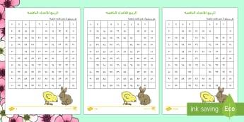 الأعداد الناقصة في لوحة الربيع للمئة عدد - الربيع، الأعداد، عربي، رياضيات، حساب، مربع المئة، لوح