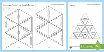 Conserving and Wasting Energy Tarsia Triangular Dominoes - Tarsia, gcse, physics, heat energy, energy, energy waste, energy use, conserving energy, conduction, plenary activity