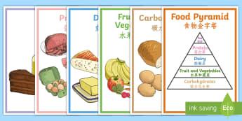 Food Pyramid Display Posters English/Mandarin Chinese - Food Pyramid Display Posters - food pyramid, food groups, display, posters, banner, sign, abnner, EA