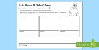 Chapter 22 Michael's Dream Activity Sheet to Support Teaching on Skellig by David Almond - Skellig, David Almond, Michael, Mina, KS3 Literature, KS3 Novel, Low Ability Reading, Year 7 Novel.
