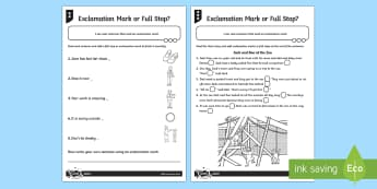 Exclamation Mark or Full Stop Differentiated Worksheet / Activity Sheet Pack - GPS, punctuation, sentence, worksheet