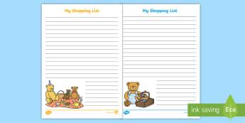 Teddy Bear's Picnic Themed Shopping List Writing Template - Teddy Bear's Picnic Themed Shopping List Writing Template - vegtables, vegatbles, Teddy Bear's Pic