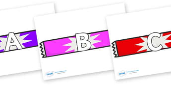 A-Z Alphabet on Candy Bars - A-Z, A4, display, Alphabet frieze, Display letters, Letter posters, A-Z letters, Alphabet flashcards