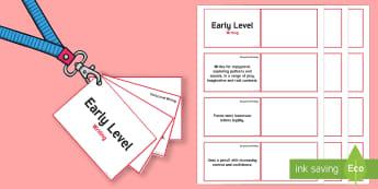*NEW* CfE Early Level Writing Lanyard-Sized Benchmarks - Early Level benchmarks, Early level assessment, Early Level outcomes, Early level observations, nurs
