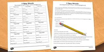 I Spy Shade Investigation Activity Sheet - I spy, shade, investigation, worksheet