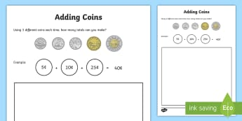 Adding Coins Activity Sheet - Canada KS1 Maths Resource Movement, addition, adding, plus, coins, money, canadian money, canadian c