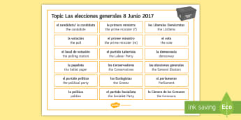UK General Election Word Mat Spanish - elections, general, theresa, may, politics, politicians, worksheet, activity, sheet, biography, exer