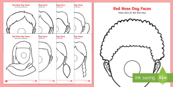 Red Nose Day Face Templates Activity Sheets - red nose day, comic relief, charity, Worksheets