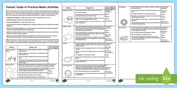Parents' Guide to Practical Maths Activities Parent and Carer Information Sheet - early years, eyfs, mathematics, number, shape, parents, measure