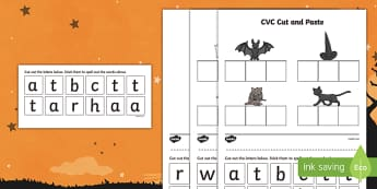 Halloween CVC Cut and Paste Activity