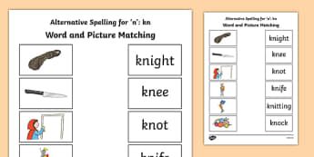 Kn Grapheme Phase 5 Alternative Spellings Word and Picture Matching Activity Sheet, worksheet