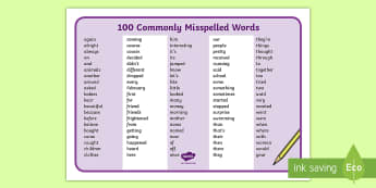 100 Commonly Misspelled Words Word Mat - Word mat, misspelled words, spelling, English, language, writing, sight words, vocabulary, tools for