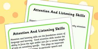 Attention And Listening Skills Information Sheet - sheet, skills