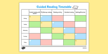 Guided Reading Timetable KS1 - guided reading, timetable, ks1, guided, reading