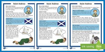 Saint Andrew Differentiated Reading Comprehension Activity - St Andrew, Patron Saint of Scotland, 30th November, Jesus's Disiciples, Scotland