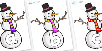 Phoneme Set on Snowmen - Phoneme set, phonemes, phoneme, Letters and Sounds, DfES, display, Phase 1, Phase 2, Phase 3, Phase 5, Foundation, Literacy