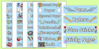 Stationery Tray Labels - labels, tray labels, classroom equipment, class, classroom, sign