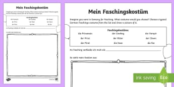 Carnival in Germany What Costume Would You Wear? Activity Sheet - Carnival, Fasching, Festivities, Gemany, German culture, German, worksheet