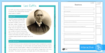 Levi Coffin Differentiated Comprehension Go Respond Worksheet / Activity Sheets - United States History, Indiana History, Levi Coffin, Catharine Coffin, Abolitionist, Slavery, Underg