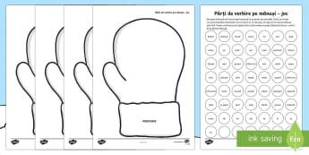 Părți de vorbire pe mănuși Joc - Winter, iarnă, mănuși, romanian, părți de vorbire, substantiv, adjectiv, verb, pronume, buline,