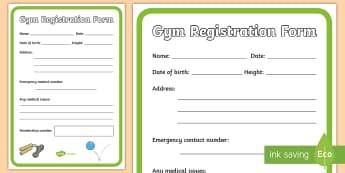 Gym Role Play Registration Form - roleplay, props, sport, pe