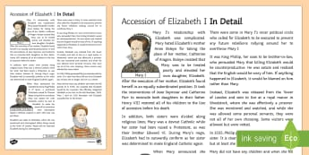 The Accession of Elizabeth I Information Sheet - Elizabethan Religious Settlement, Protestant, Catholics, religion, religious, plots, rebellion, over