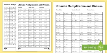 Ultimate Multiplication and Division Worksheet / Activity Sheet - Ultimate Multiplication and Division Worksheet / Activity Sheet Pack - multiplication, ultimate, division, pack,