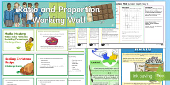 UKS2 Ratio and Proportion Working Wall Display Pack - maths display, classroom display, fractions of amounts, unequal sharing, percentage, percentages, sc
