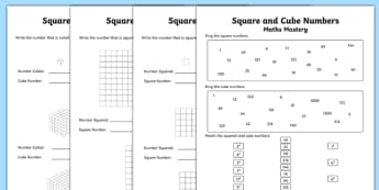 Year 5 Multiplication and Division Square and Cube Numbers Maths Mastery Activity Sheet Pack, worksheet