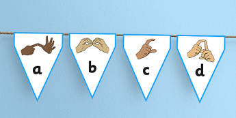 British Sign Language Alphabet Display Bunting - bunting, display