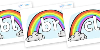 Initial Letter Blends on Rainbows - Initial Letters, initial letter, letter blend, letter blends, consonant, consonants, digraph, trigraph, literacy, alphabet, letters, foundation stage literacy