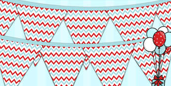 Zig Zag Birthday Party Pattern Bunting Red And Blue - birthdays