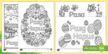 Taflenni Lliwio Ymwybyddiaeth Ofalgar Pasg Hapus - Y Pasg, pasg, PASG, Pasg, Pasg, cymuno adeg y Pasg, . ŵy Pasg, wyau Pasg, Easter flower, Monday n.