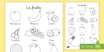 Hoja de colorear: La fruta - hoja de colorear, colorear, colorea, color, colores, fruta, frutas, vocabulario, ,Spanish