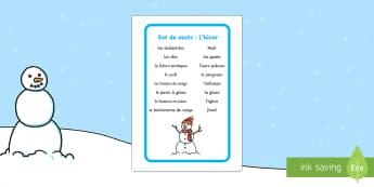 Set de mots: L'hiver - Hiver, winter, mots, vocabulaire, écriture, écrire, lecture, reading, writing, words, vocabulary,F