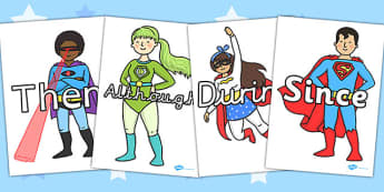 Sentence Starters on Superheroes - Sentence starter, writing sentences, vocabulary, writing aid, how to start a sentence, the, next, there