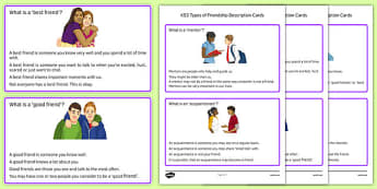 KS3 Types of Friendship Description Cards - ks3, types, friendship, description cards
