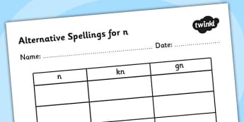 Alternative Spellings for n Table Worksheet-alternative spellings, n, worksheet, n spellings, spellings table, spellings, different spellings, literacy
