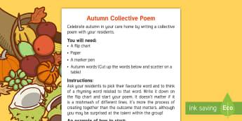 Elderly Care - Autumn Adult Guidance - Autumn, Seasons, Display, September, October, November, Leaves, Harvest, Activity Co-ordinators, Sup