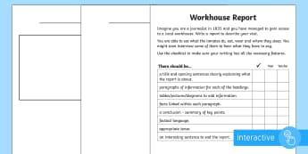 KS2 Workhouse Report Go Respond Worksheet / Activity Sheets - KS2 Workhouses, newspaper report writing, year 3, year 4, year 5, year 6, news report, Victorian lif