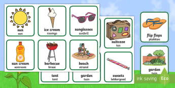 Summer Pairs Matching Game English/Afrikaans - seasons, weather, warm, holiday, vocabulary, seisoene, EAL