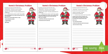 KS1 Santa's Christmas Problem Story Writing Differentiated Activity Sheets - y1, y2, story starter, story opening, writing activity, stimulus, stimuli, xmas, worksheets