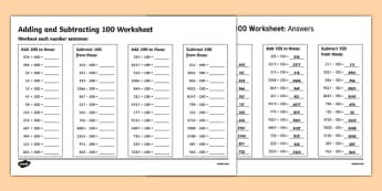 Adding and Subtracting 100 Activity Sheet - addition and subtraction worksheet, adding to and subtracting from 100 worksheet, addition worksheet, maths