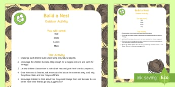 Build a Nest Outdoor Activity - EYFS Parks and Gardens, playgrounds, forest school, outdoor learning, outdoor classroom, outside, wo