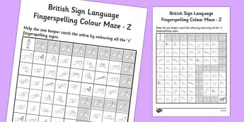 British Sign Language Fingerspelling Colour Maze Z - colour, maze