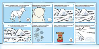 Polar Playdough Mats Romanian/English - Polar Playdough Mats - Polar Playdough Mats, Polar Regions, polar region, region, polar, mat, activi