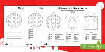 Christmas Themed 2D Shape Search Activity Sheet Polish Translation - Christmas, Nativity, Jesus, xmas, Xmas, Father Christmas, Santa, 2D shape, shape hunt,Polish-transla