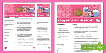 Coconut Ice Squares Diwali Recipe - Celebration, cook, make, bake, bak, maak, EAL