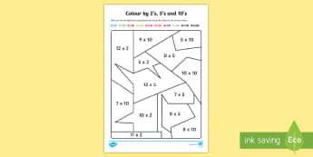 Colour by 2s, 5s and 10s Mixed Multiplication - colour, 2, 5, 10, multiplication, mixed, numbers