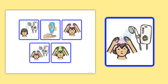 5 Step Sequencing Cards Washing Hair - sequencing, cards, hair